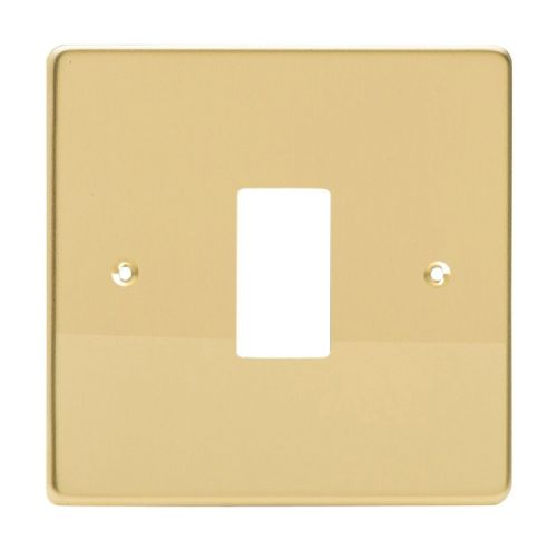 Varilight XDVPG1 PowerGrid Polished Brass 1 Gang Grid Plate (Single Plate)